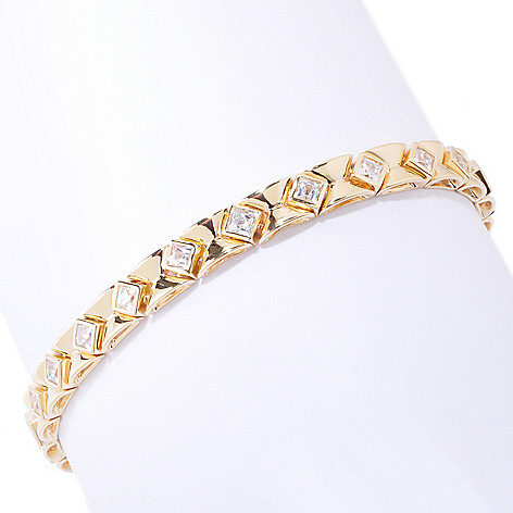 120-804 - TYCOON Bezel Set Tycoon Cut Simulated Diamond Link Bracelet