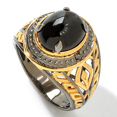 120-824 - Men's en Vogue II 12 x 10mm Star Diopside & Black Diamond Ring