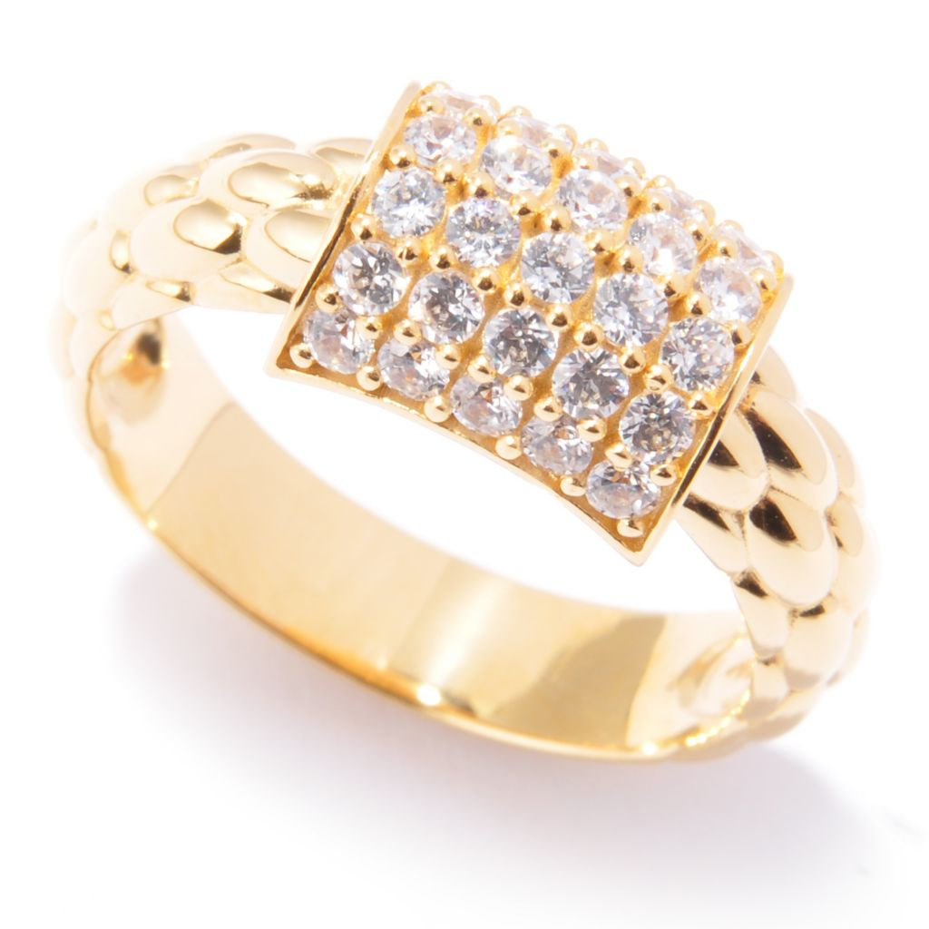 120-838 - Sonia Bitton Gold Embraced™ Textured Pave Simulated Diamond Station Band Ring