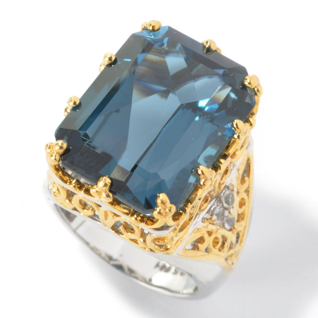 120-845 - Gems en Vogue 24.63ctw London Blue Topaz & White Sapphire Ring