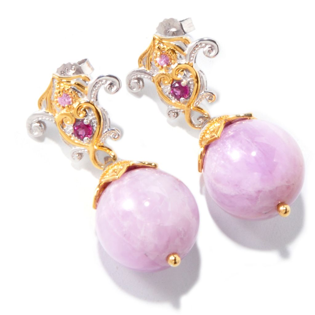 120-854 - Gems en Vogue II 16mm Kunzite, Rhodolite Garnet & Pink Sapphire Earrings