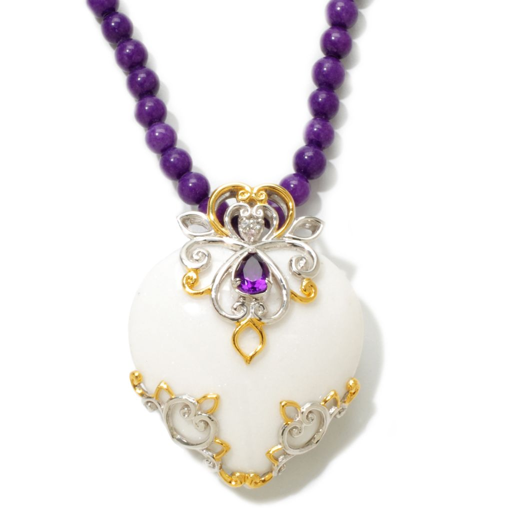 "120-857 - Gems en Vogue 34mm White Agate & Multi Gem Pendant w/ 18"" Dyed Purple Jade Bead Strand"