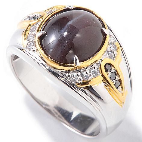 120-864 - Men's en Vogue II Cat's Eye Scapolite, White Sapphire & Black Diamond Ring