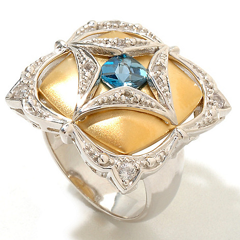 120-872 - Kristen Amato Cushion Cut London Blue Topaz & White Sapphire Ring