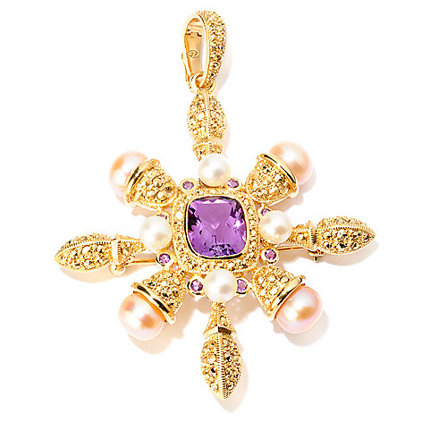 120-883 - Dallas Prince Multi Gemstone & Chrome Marcasite Star Shaped Pin / Pendant