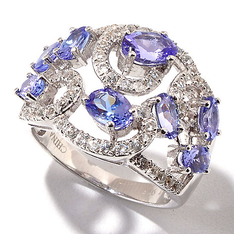 120-891 - Gem Treasures® Sterling Silver 2.71ctw Tanzanite & White Topaz Scroll Design Ring