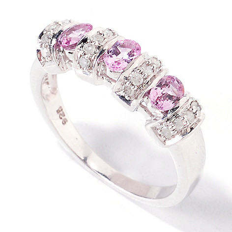 120-915 - Gem Treasures® Sterling Silver Purple Spinel & Diamond Band Ring