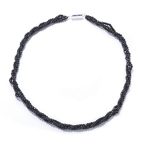 120-931 - Gem Treasures® Sterling Silver 18'' or 24'' Black Spinel Three-Row Necklace w/ Magnetic Clasp