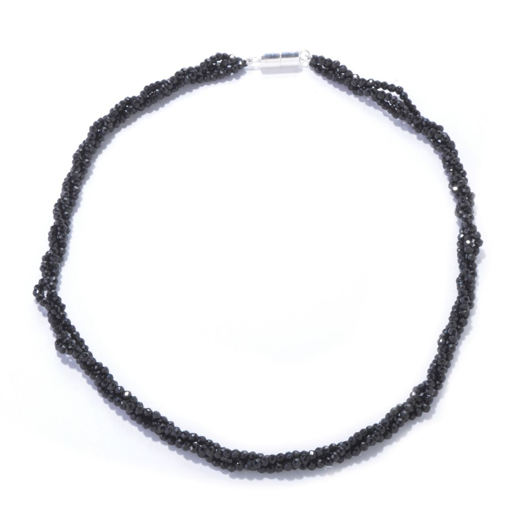 "120-931 - Gem Treasures Sterling Silver 18"" or 24"" Black Spinel Three-Row Necklace w/ Magnetic Clasp"
