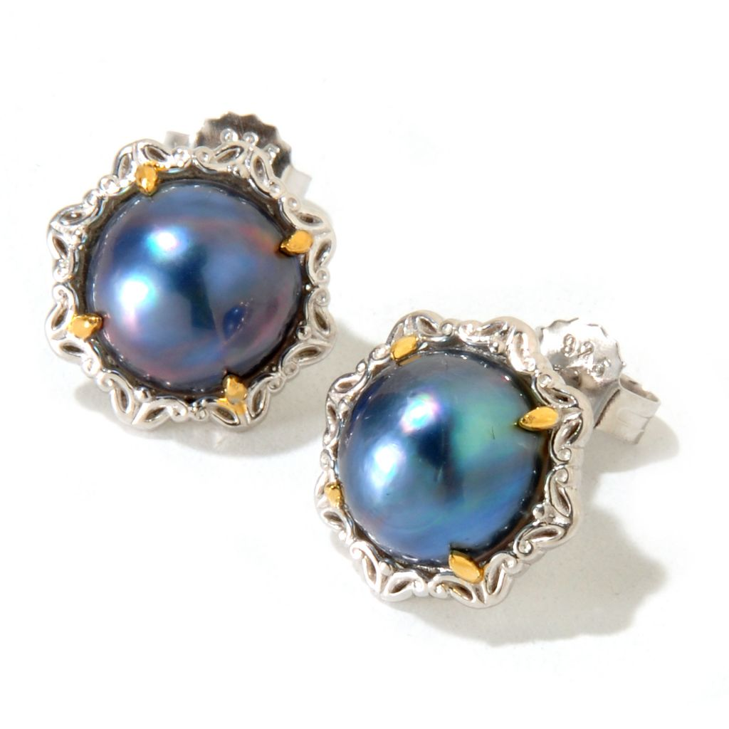 120-952 - Gems en Vogue II 9-10mm Mabe Cultured Pearl Stud Earrings