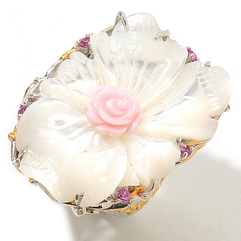 120-953 - Gems en Vogue 30 x 22mm Dyed Mother-of-Pearl, Pink Sapphire & Shell Flower Ring
