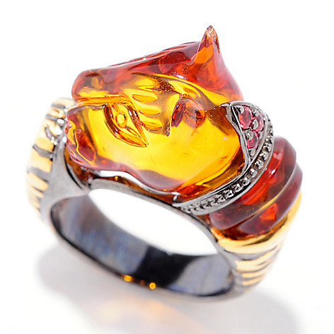 120-955 - Gems en Vogue II 5.08ctw Carved Amber & Orange Sapphire Panther Ring