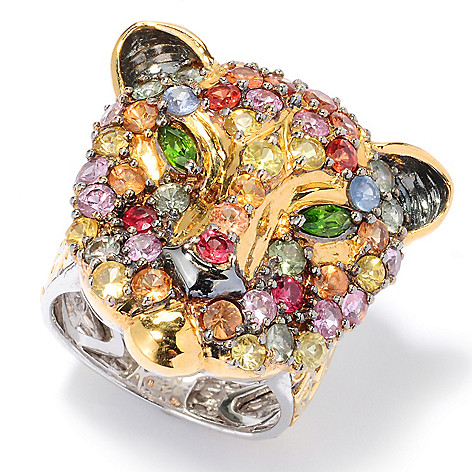 120-958 - Gems en Vogue II 4.06ctw Multi Sapphire & Chrome Diopside Panther Ring