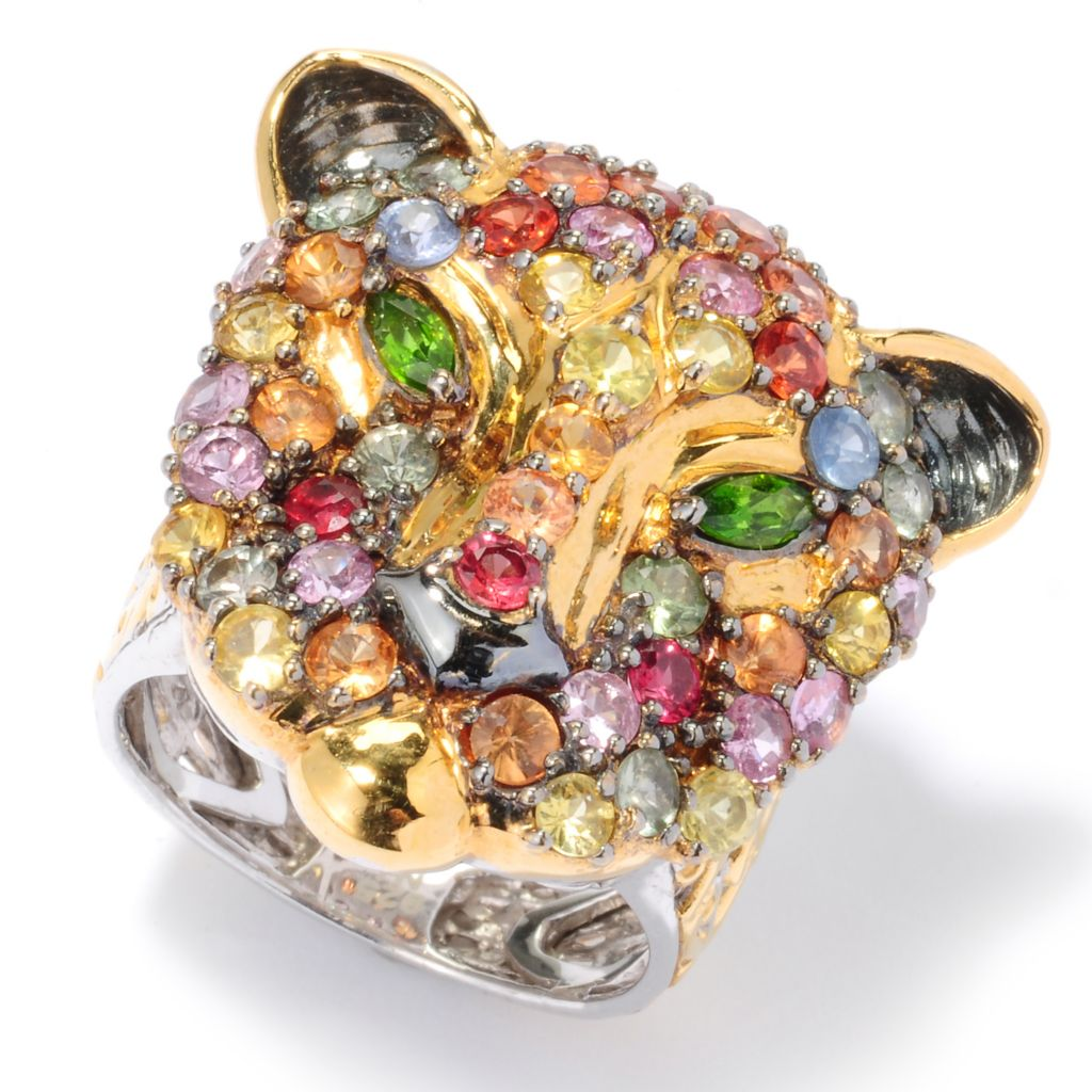 120-958 - Gems en Vogue 4.06ctw Multi Sapphire & Chrome Diopside Panther Ring