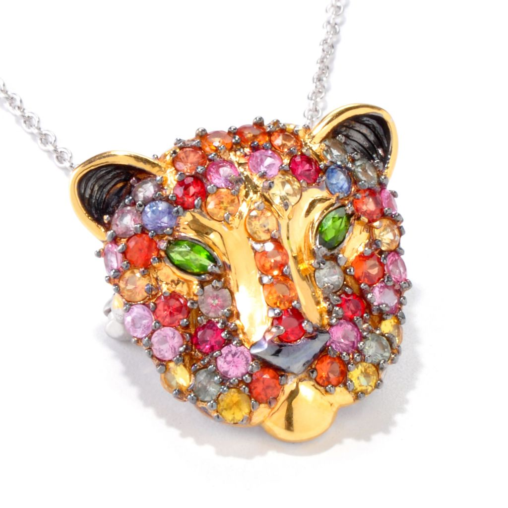 120-959 - Gems en Vogue 4.06ctw Multi Sapphire & Chrome Diopside Panther Pendant/Pin