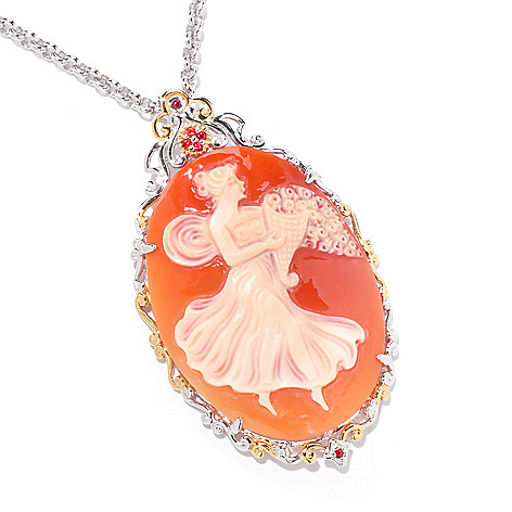 120-971 - Gems en Vogue Italian Carved Shell Cameo & Orange Sapphire Pendant w/ Chain