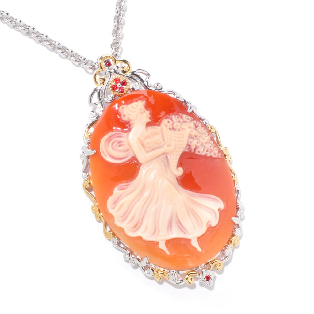 120-971 - Gems en Vogue II Italian Carved Shell Cameo & Orange Sapphire Pendant w/ Chain
