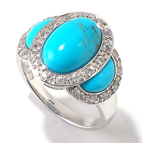 120-979 - Gem Insider Sterling Silver Turquoise & White Sapphire Three-Stone Ring