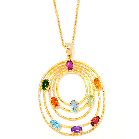 120-989 - NYC II 2.30ctw Multi Gemstone Tiered Oval Pendant w/ Chain