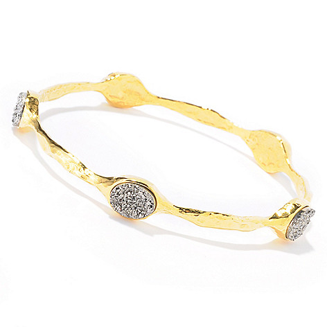 121-030 - Toscana Italiana 18K Gold Embraced™ 8 x 10mm Drusy Station Martellato Slip-On Bangle Bracelet