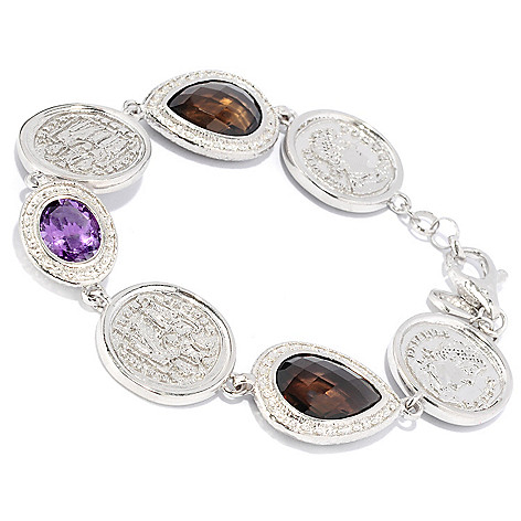 121-035 - Toscana Italiana 18K Gold Embraced™ 8.25'' Amethyst & Smoky Quartz Coin Link Bracelet