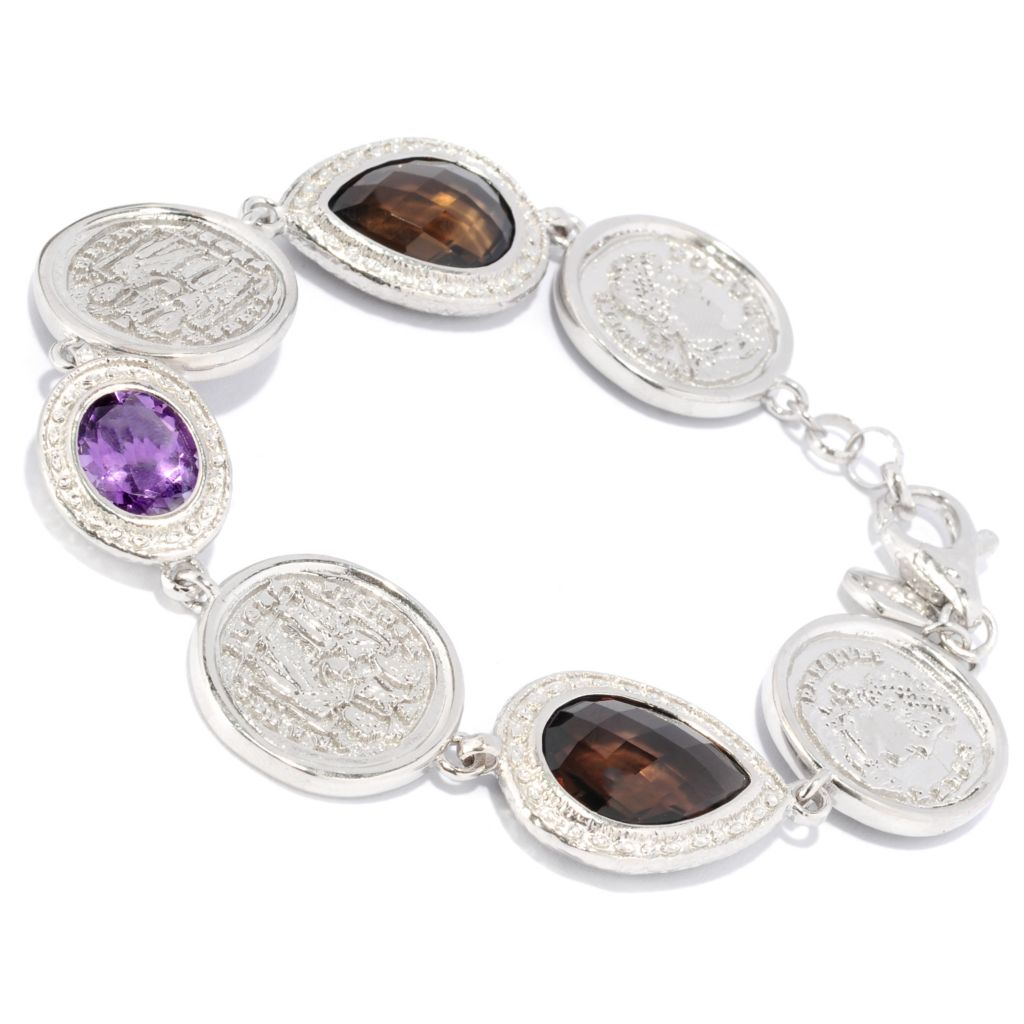 "121-035 - Toscana Italiana Gold Embraced™ 8.25"" Amethyst & Smoky Quartz Coin Link Bracelet"