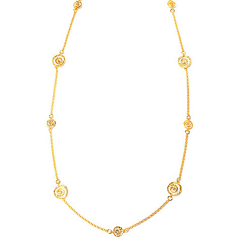 121-038 - Toscana Italiana 18K Gold Embraced™ 36'' Etruscan Spiral Station Necklace