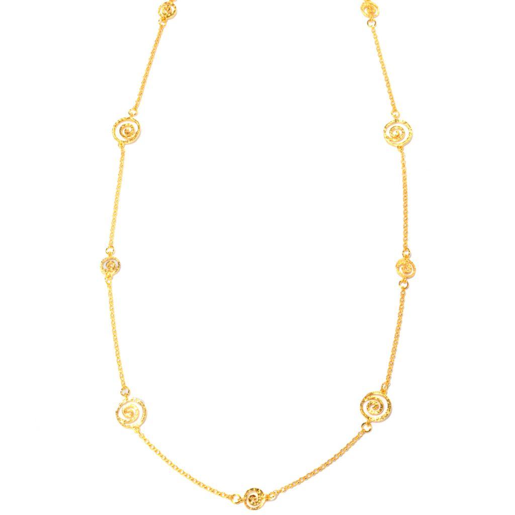 "121-038 - Toscana Italiana 18K Gold Embraced™ 36"" Etruscan Spiral Station Necklace"