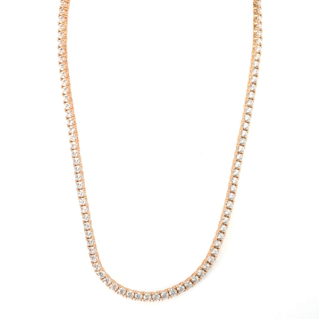 121-071 - Brilliante® Round Brilliant Cut Four-Prong Simulated Diamond Tennis Necklace