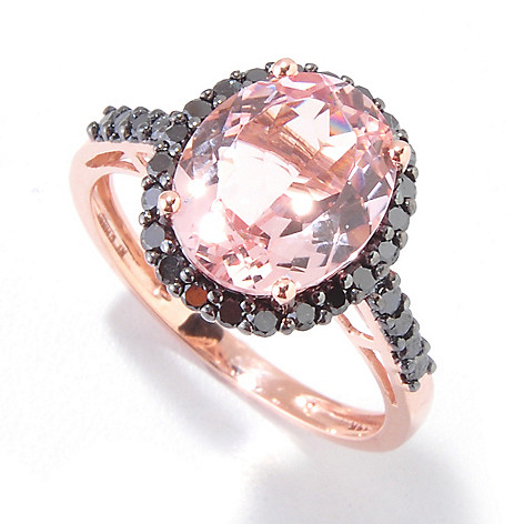 121-091 - Gem Treasures 14K Rose Gold 3.79ctw Morganite & Black Diamond Halo Ring
