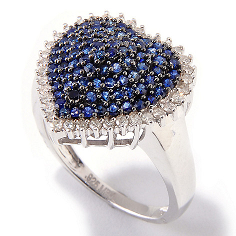 121-102 - Gem Treasures® Sterling Silver Fancy Sapphire & Diamond Pave Heart Shaped Ring