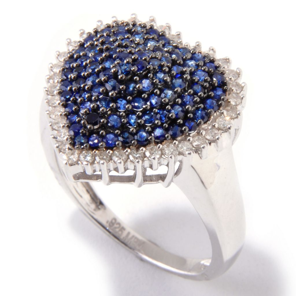 121-102 - Gem Treasures Sterling Silver Fancy Sapphire & Diamond Pave Heart Shaped Ring