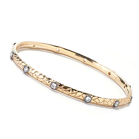 121-137 - Sonia Bitton 1.32 DEW Bezel Set Simulated Diamond Textured Slip-On Bangle Bracelet