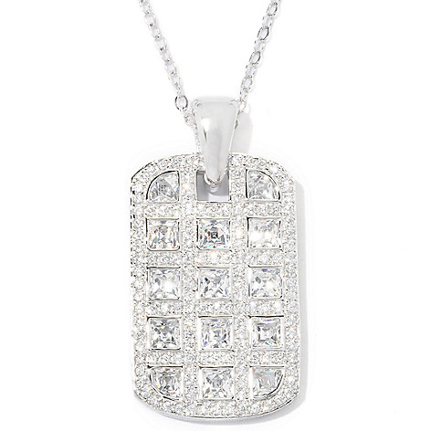 121-143 - TYCOON 3.41 DEW Bezel & Pave Set Simulated Diamond Tag Pendant w/ 18'' Chain