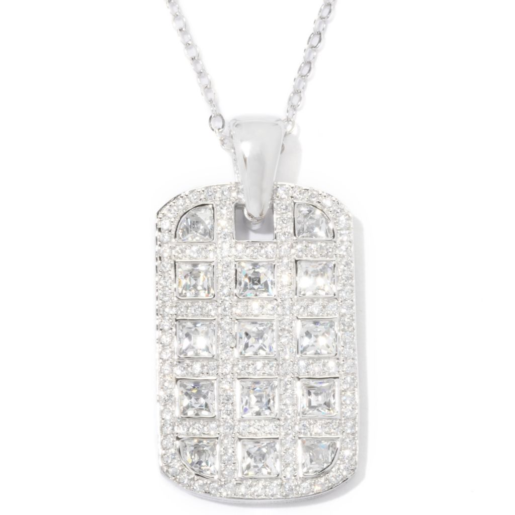 "121-143 - TYCOON 3.41 DEW Bezel & Pave Set Simulated Diamond Tag Pendant w/ 18"" Chain"