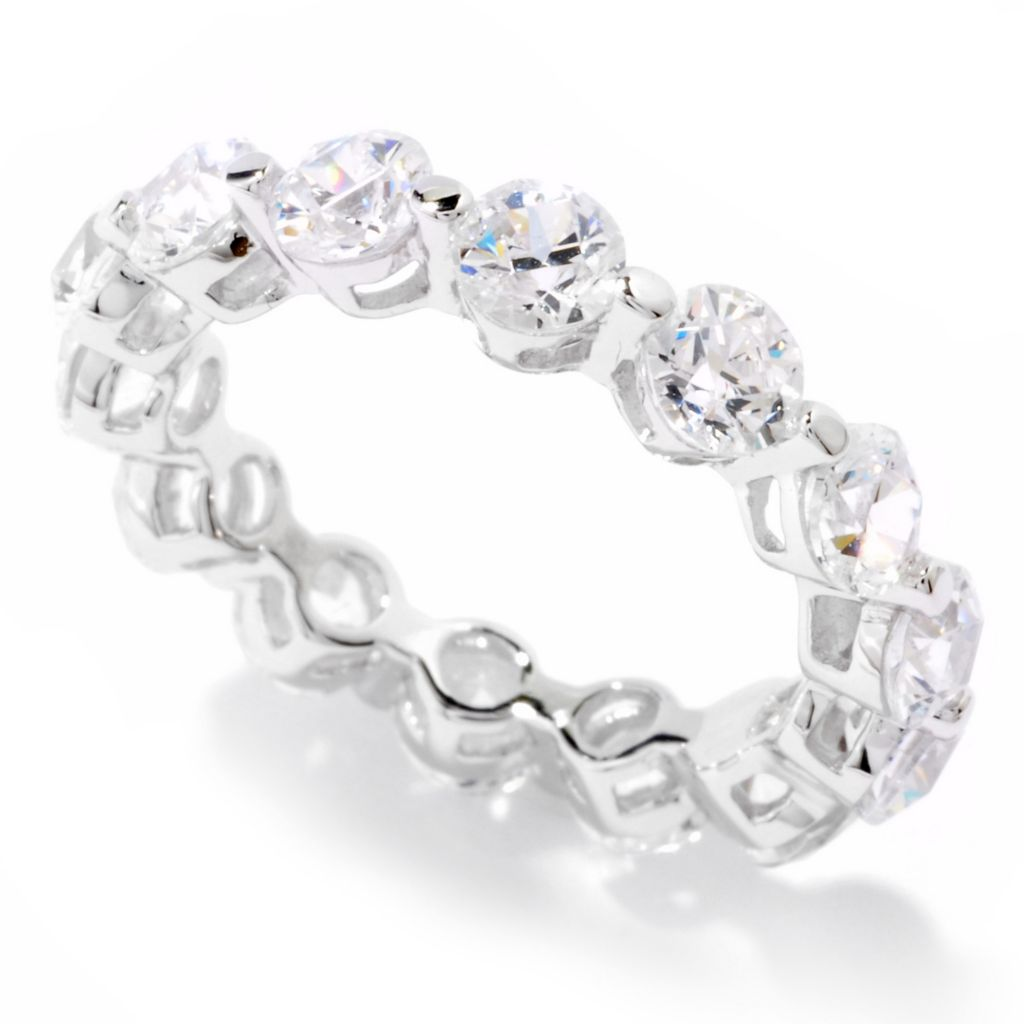 121-144 - TYCOON Platinum Embraced™ 3.52 DEW Simulated Diamond Round Band Ring