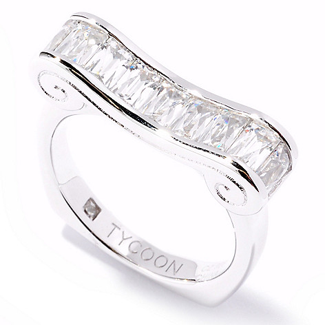 121-145 - TYCOON 1.19 DEW Rectangular Cut Simulated Diamond Scroll Ring