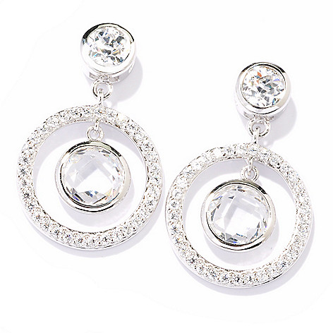 121-170 - TYCOON 1'' Platinum Embraced™ 4.20 DEW Simulated Diamond Open Halo Dangle Earrings