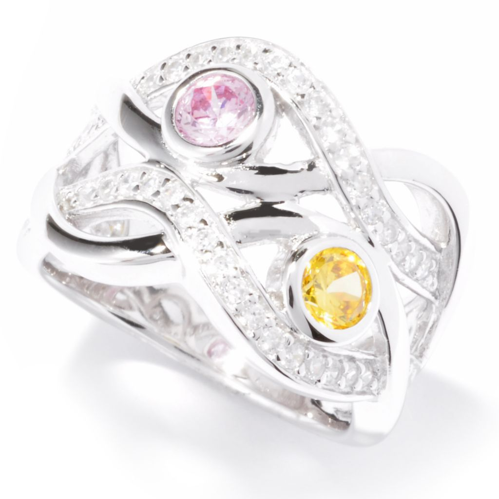 121-171 - Brilliante® Platinum Embraced™ Canary & White Simulated Diamond Wave Ring