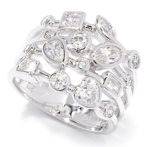 121-172 - Brilliante® Platinum Embraced™ 1.49 DEW Simulated Diamond Four-Row Ring