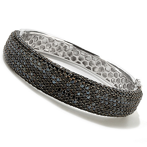 121-182 - Gem Treasures Sterling Silver 6.43ctw Pave Black Spinel Bangle Bracelet