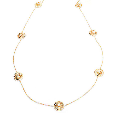 121-196 - Sonia Bitton 36'' 3.06 DEW Round Simulated Diamond Cut-out Medallion Station Necklace