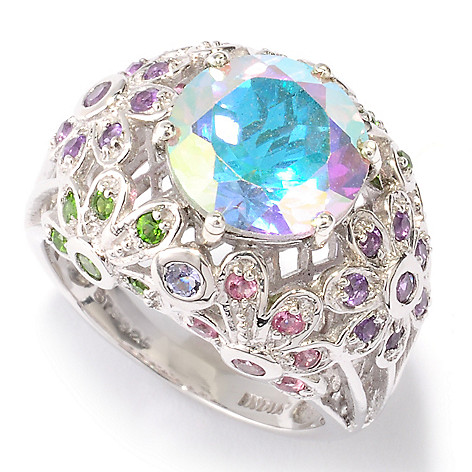 121-210 - NYC II 4.64ctw Topaz & Multi Gemstone Floral Design Ring