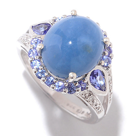 121-214 - NYC II 12 x 10mm Oregon Blue Opal, Tanzanite & Diamond Ring