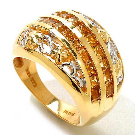 121-215 - NYC II 1.26ctw Golden Tourmaline Flower Band Ring