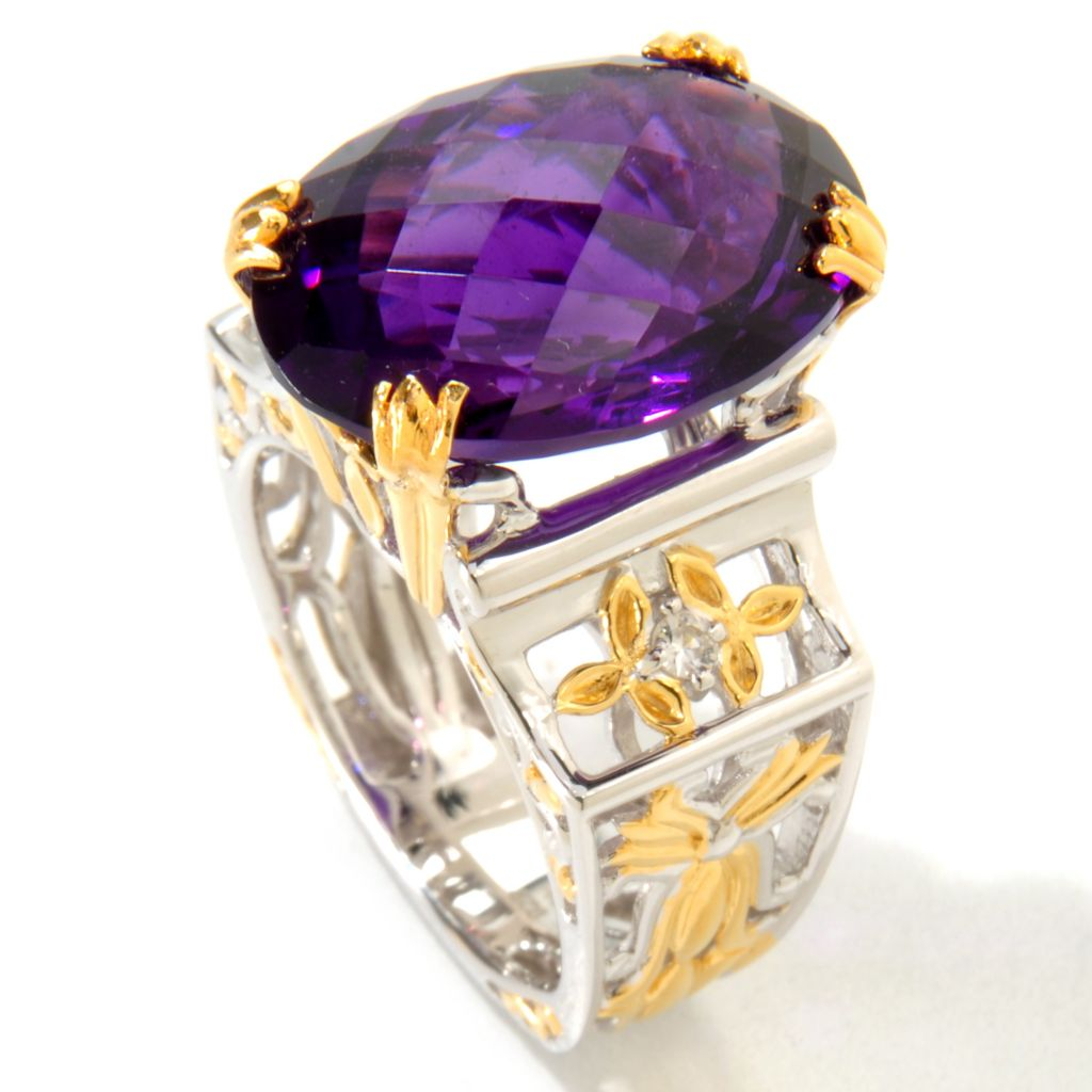121-226 - Gems en Vogue 9.34ctw Tanzanian Color Shift Amethyst Ring
