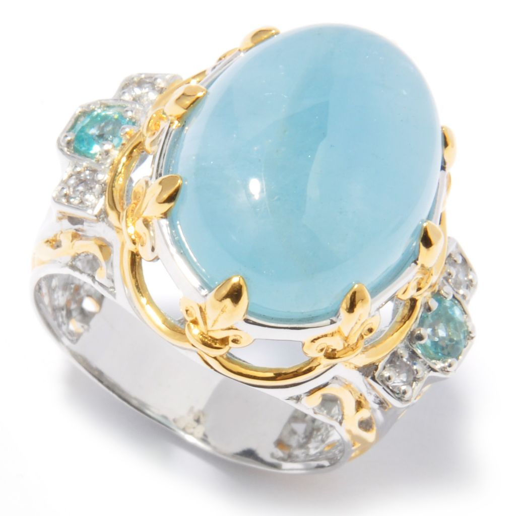 121-227 - Gems en Vogue 16 x 12mm Aquamarine, White Sapphire & Apatite Ring