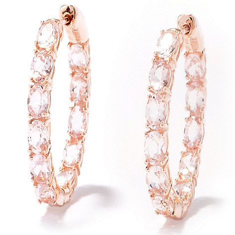 121-246 - Gem Treasures 14K Rose Gold 4.52ctw Morganite Inside-Out Hoop Earrings