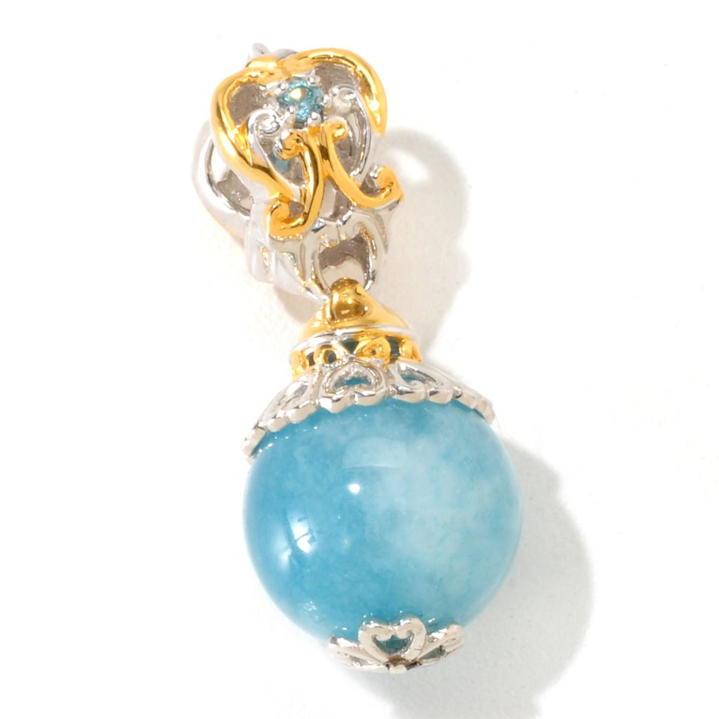 121-253 - Gems en Vogue 12mm Aquamarine & Blue Zircon Bead Drop Charm