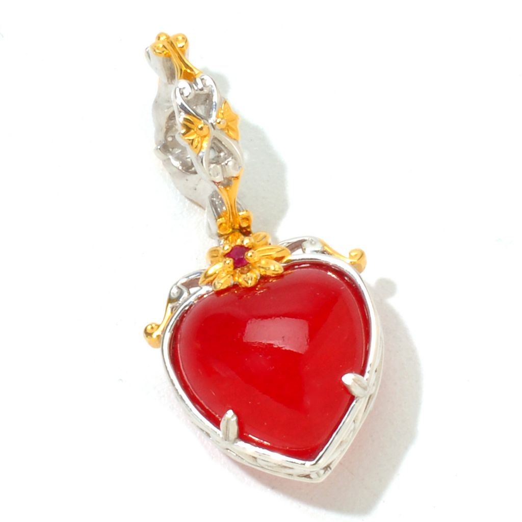 121-254 - Gems en Vogue 12mm Dyed Red Jade & Ruby Heart Drop Charm